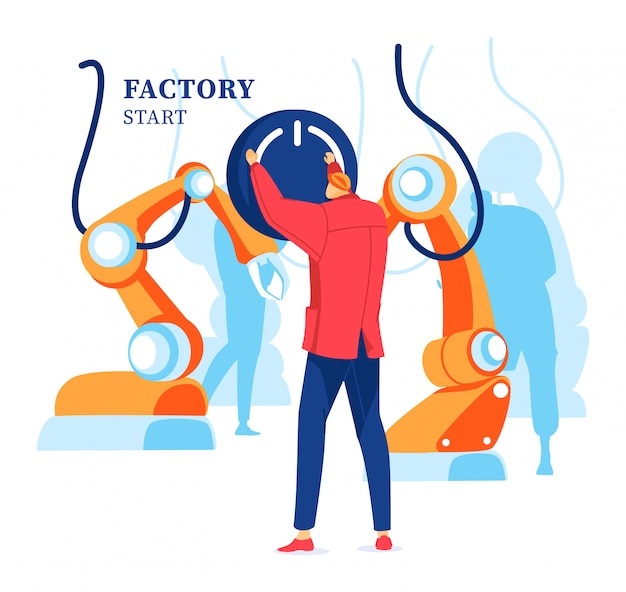 Inscription, factory start, industrial business, online production management, design in cartoon style illustration.