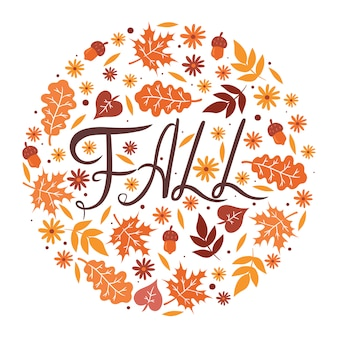 The inscription fall, leaves and flowers in a circle on a white background.  graphics.