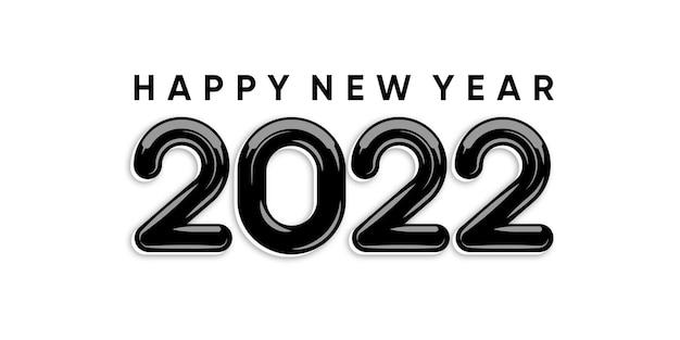 フラットスタイルで白を背景に碑文新年あけましておめでとうございます2022。ベクタープレミアム