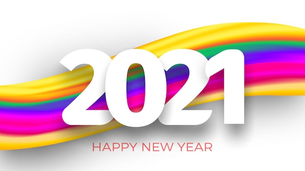 Inscription happy new year and colorful brush stroke on white background.