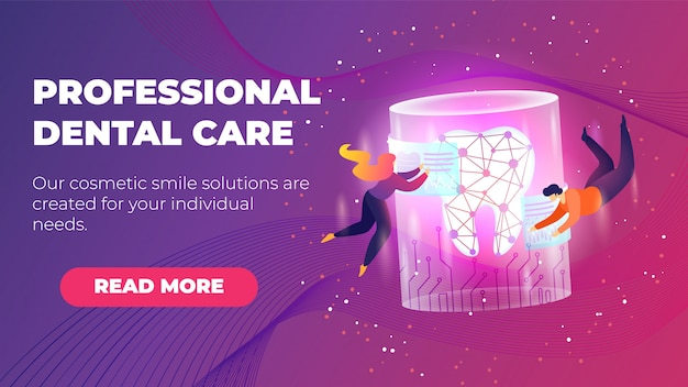 Inscription professional dental care flat banner template.