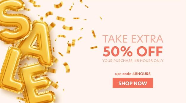Распродажа надписей из шаров из золотой фольги и золотых блесток