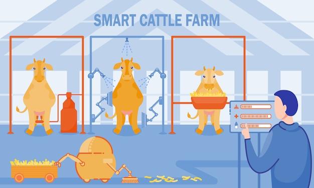 Inscription smart cattle farm vector illustration.