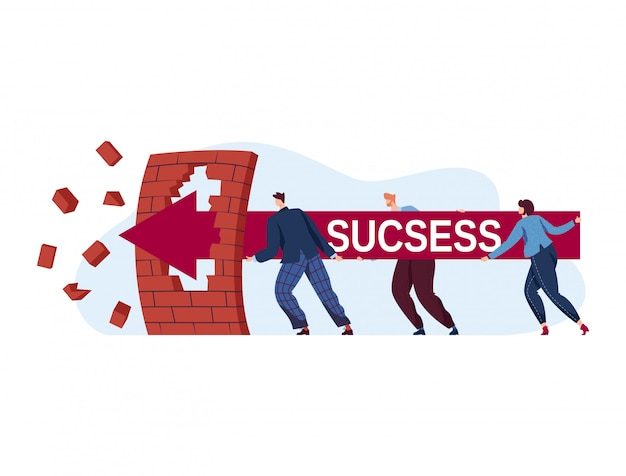Inscription success, successful teamwork, overcoming crisis, concept achieving career, flat illustration, isolated on white