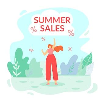 Inscription summer sales vector illustration.