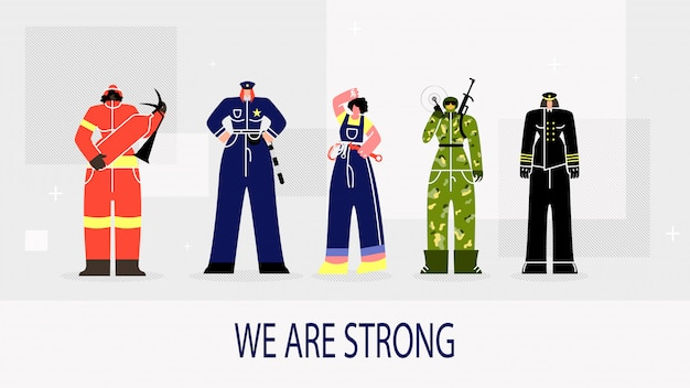 Inscription we are strong vector illustration.