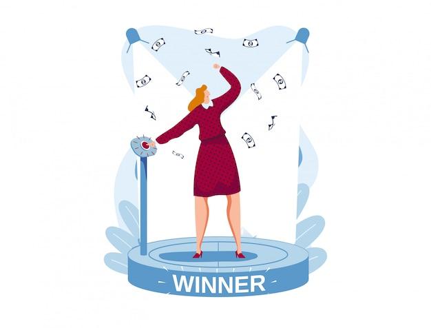 Победитель надписи, успешный прибыльный бизнес, счастливая богатая девушка, успешная женщина-лидер, иллюстрация в мультяшном стиле,