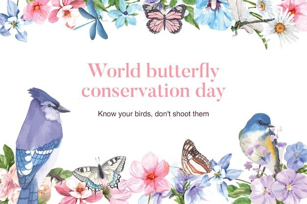 アオカケス、蝶、トンボの水彩イラストと昆虫と鳥のフレーム。