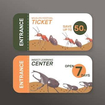 Insect and bird ticket with ant, beetle watercolor illustration.