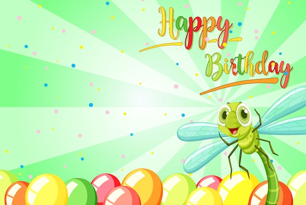Insect on birthday template