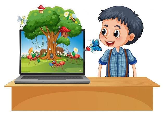 コンピューターの背景に昆虫漫画の妖精