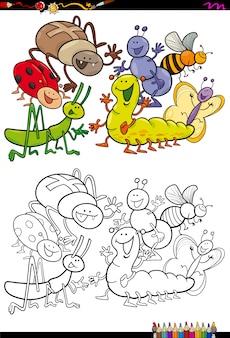 곤충 캐릭터 그룹 색칠하기 책