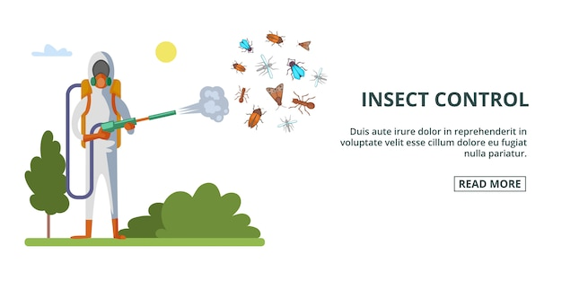 Insect control banner horizontal, cartoon style