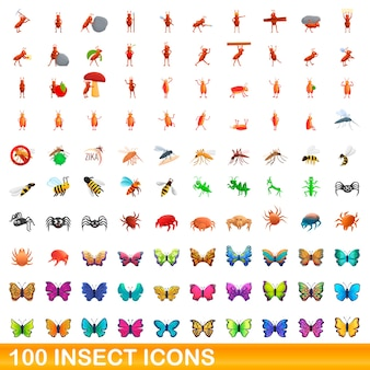 Набор иконок насекомых. карикатура иллюстрации иконок насекомых на белом фоне