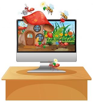 コンピューター画面の背景に昆虫の王国