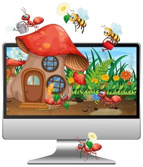 컴퓨터 화면에 곤충 땅