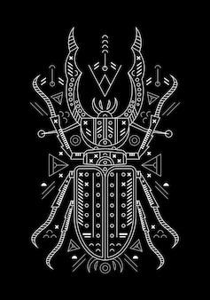 검은 배경에 곤충 라인 아트