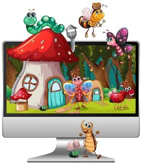 コンピューター画面のデスクトップ上の昆虫の魔法の土地