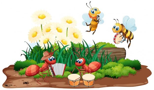 Музыкальная группа насекомых играет на природе