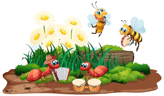 Insect musical band playing in nature