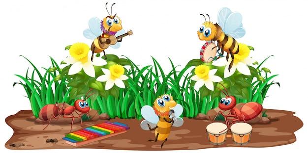 昆虫が自然の中で音楽を演奏する