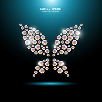 黒の背景に分離されたラインストーンの宝石で作られた昆虫の肖像画。蝶のロゴ、フライのアイコン。ジュエリーパターン、ハンドメイド商品。輝くパターン。蝶のシルエット、クローズアップ。