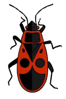 곤충 - 만화 스타일의 붉은 군인 버그