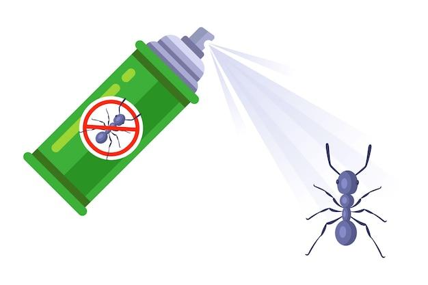 Средство от насекомых в виде спрея. уничтожить жилище муравьев-вредителей. плоские векторные иллюстрации.