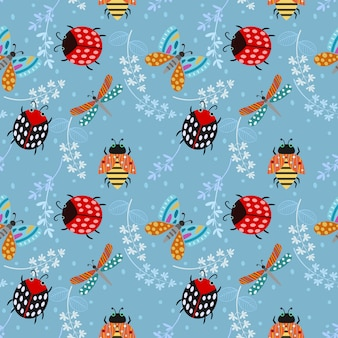 Insect seamless pattern background.