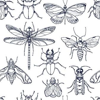 Бесшовный узор из насекомых