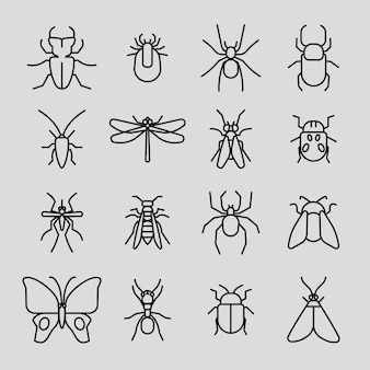 Insect thin line icons set