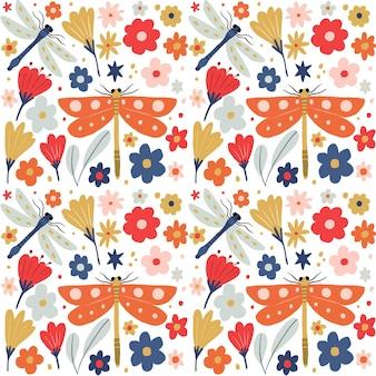 昆虫と花のパターンコレクションデザイン