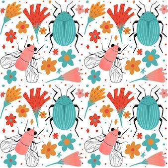 昆虫と花のパターンコレクションのテーマ
