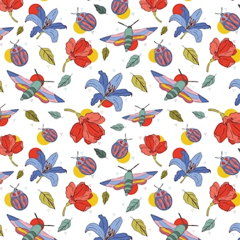 곤충과 꽃 패턴