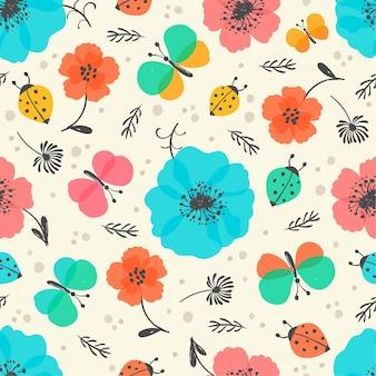 昆虫と花のパターン
