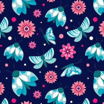 Насекомые и цветочный образец