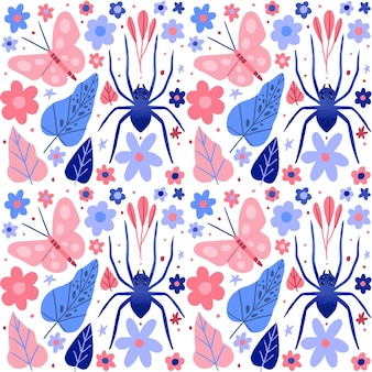 Insects and flowers pattern collection concept