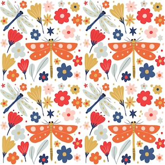 Insects and flowers pattern collection design