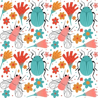 Insects and flowers pattern collection theme