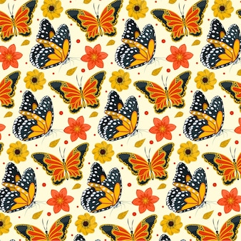 Insects and flowers pattern pack theme