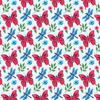 Insects and flowers pattern pack