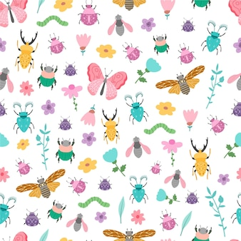 Insects and flowers pattern style