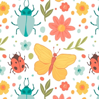 Insects and flowers pattern template
