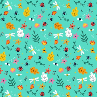 Insects and flowers pattern theme