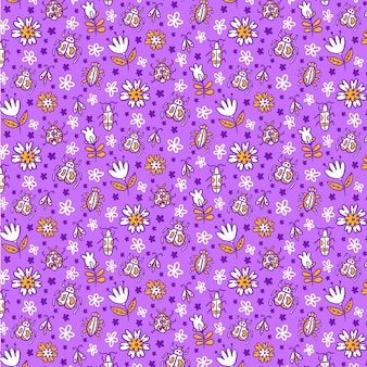 Insects and flowers pattern