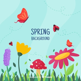 Insects flying spring background