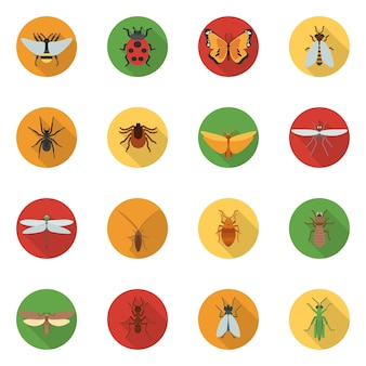 Insects icons flat