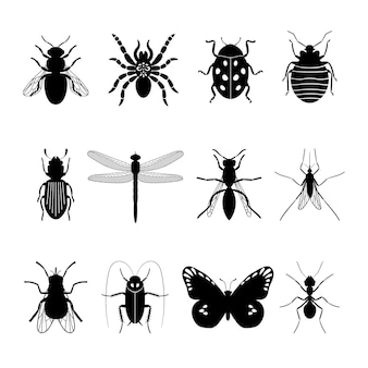 Insects icons. insect   silhouettes