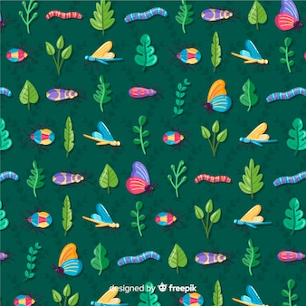 Insects and plants pattern background