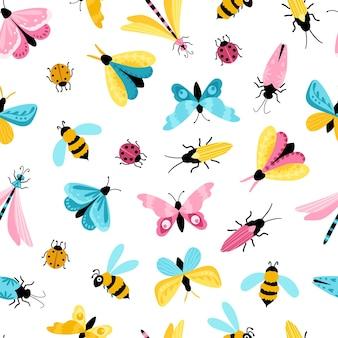 昆虫のシームレスなパターン。シンプルな幼稚な漫画のスタイルでカラフルな手描きの蝶、トンボ、カブトムシ。